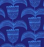 Molde lindo decorativo para papéis de parede, matéria têxtil do fundo floral oriental sem emenda bonito azul do teste padrão ilustração do vetor