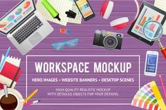 Molde liso do conceito para a educação, estudo, negócio, design web Imagens de Stock