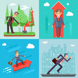Molde liso profissional da Web do projeto de Success Growth Icon Infographics do gerente de Characters Set Experienced do homem d Foto de Stock Royalty Free