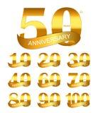 Molde Logo Set Anniversary Vetora Illustration Imagem de Stock Royalty Free