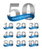 Molde Logo Set Anniversary Vetora Illustration Foto de Stock Royalty Free