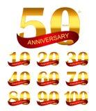 Molde Logo Set Anniversary Vetora Illustration Fotos de Stock