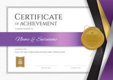 Molde luxuoso do certificado com quadro elegante da beira, diploma d ilustração royalty free
