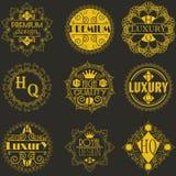 Molde luxuoso dos Logotypes das insígnias do projeto retro Fotografia de Stock Royalty Free