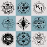 Molde luxuoso dos Logotypes das insígnias do projeto retro Imagens de Stock