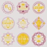 Molde luxuoso dos Logotypes das insígnias do projeto retro Foto de Stock