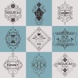 Molde luxuoso dos Logotypes das insígnias do projeto retro Imagem de Stock