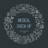 Molde médico do cartaz Vector a linha ícone, centro médico, exame médico completo acima, equipamento médico Fotos de Stock