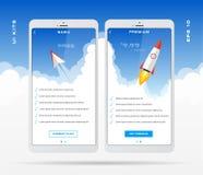 Molde móvel do projeto do app para o grupo da tabela de preços, o plano da tarifa, fixando o preço da tabela para o negócio com í ilustração do vetor