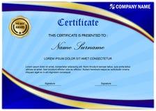 Molde moderno da concessão do certificado/diploma, ouro azul Fotos de Stock Royalty Free