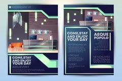 Molde moderno do vetor dos desenhos animados do folheto do anúncio do hotel ilustração do vetor