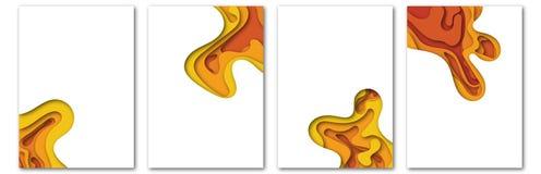 Molde moderno do vetor para o folheto, folheto, inseto, tampa, catálogo no tamanho A4 O líquido abstrato 3d dá forma ao líquido n ilustração stock