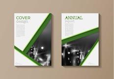 Molde moderno verde do folheto do livro da tampa, projeto, repo anual Imagens de Stock Royalty Free