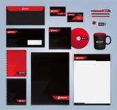 Molde moderno vermelho e preto do projeto da identidade corporativa Foto de Stock Royalty Free