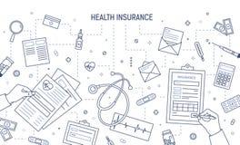 Molde monocromático da bandeira com as mãos que completam o formulário o médico ou da saúde do seguro do documento, cercado por m ilustração stock