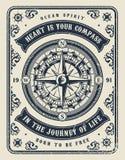 Molde monocromático marítimo do vintage ilustração royalty free