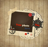 Molde náutico da sucata do vintage com quadro da foto Fotografia de Stock