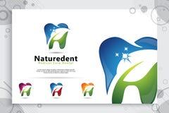 Molde natural do logotipo do projeto do vetor da cl?nica dos cuidados dent?rios, criativo digital da ilustra??o do s?mbolo dental ilustração do vetor
