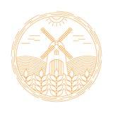 Molde natural do projeto do logotipo do vetor da exploração agrícola Emblema da agricultura Imagem de Stock Royalty Free