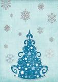 Molde nevado do cartão da árvore Imagens de Stock