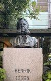 The sculpture bust Henrik Ibsen. Molde, Norway - June 6, 2019: Bust of Norwegian playwright and poet Henrik Ibsen. Made by Jakob Henrik Gerhard Fjelde 1859-1896 royalty free stock photos