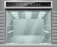 Molde para anunciar a fachada da parte dianteira da loja 3d Horizontais exteriores realísticos esvaziam a loja com prateleiras Mo ilustração royalty free