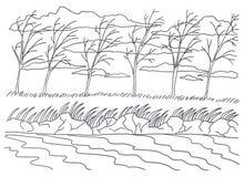 Molde para colorir Pintura de paisagem Vento do outono Foto de Stock