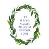 Molde para felicitações ou convites ao casamento em cores verdes Fotografia de Stock Royalty Free