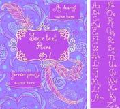 Molde para o cartão do ` s do Valentim em cores lilás ilustração stock