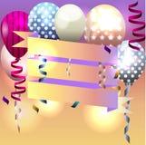 Molde para o convite, cartão de aniversário cartão com fita e Fotografia de Stock