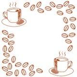 Molde para o convite com a caneca de café e de feijões de café Imagem de Stock Royalty Free