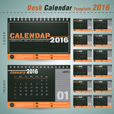 Molde para o sim novo, escritório do projeto do vetor do calendário de mesa 2016 Foto de Stock Royalty Free