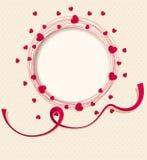Molde para um convite a um partido Corações vermelhos em torno do quadro circular Imagens de Stock Royalty Free