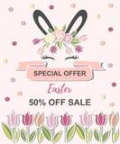 Molde para a venda feliz da Páscoa ilustração stock