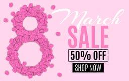 Molde para a venda o 8 de março Dígito 8 das pétalas cor-de-rosa Oferta especial, discontos grandes Compra do ` s das mulheres Di ilustração royalty free