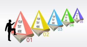 Molde passo a passo de Infographics com objetos piramidais e silhueta do gerente ilustração royalty free