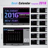 Molde pelo ano novo, escritório do projeto moderno de calendário de mesa 2016 Fotografia de Stock