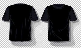 Molde preto ajustado isolado, dos t-shirt fundo transparente tirado mão dos t-shirt Molde vazio da propaganda do modelo do vetor ilustração do vetor