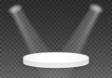 Molde preto da plataforma do vetor pódio realístico do vencedor do vetor 3D com luz brilhante Foto de Stock