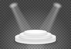 Molde preto da plataforma do vetor pódio realístico do vencedor do vetor 3D com luz brilhante Imagem de Stock