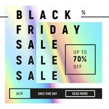 Molde preto da venda de sexta-feira no estilo fluido holográfico na moda Inclinações azuis, cor-de-rosa no projeto mínimo Imagens de Stock Royalty Free