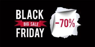 Molde preto do projeto da venda de sexta-feira Black Friday bandeira de um disconto de 70 por cento com fundo preto Ilustração do Fotografia de Stock
