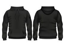 Molde preto do vetor do hoodie da parte dianteira e da parte traseira Fotos de Stock Royalty Free