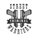 Molde preto e branco do projeto do sinal do clube foragido criminoso da rua com texto e duas pistolas Imagem de Stock Royalty Free