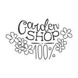 Molde preto e branco do projeto do sinal do Promo da loja do jardim de 100 por cento com texto caligráfico com flores Ilustração Royalty Free