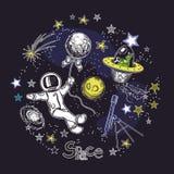 Molde quadrado do cartão com a imagem de elementos cósmicos Astronauta com um balão, um estrangeiro, um telescópio e uma galáxia ilustração royalty free