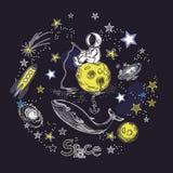 Molde quadrado do cartão com a imagem de elementos cósmicos O astronauta senta-se no planeta e trava-se peixes Galáxia, baleia e ilustração stock