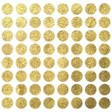 Molde quadrado do projeto do aniversário do wadding do Natal dos pontos dourados do círculo Imagens de Stock Royalty Free