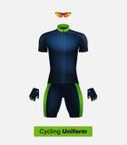 Molde realístico do uniforme do ciclismo Azul e verde Modelo de marcagem com ferro quente Bicicleta ou roupa e equipamento da bic Imagem de Stock Royalty Free