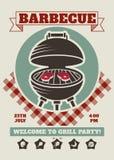 Molde retro do convite do restaurante do partido do assado Cartaz do vetor do cookout do BBQ com a grade clássica do carvão veget ilustração do vetor